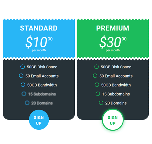 Pricing Table — стиль 100