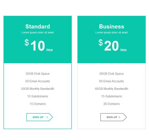 Pricing Table — стиль 38