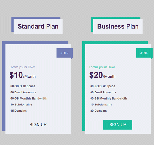 Pricing Table — стиль 62