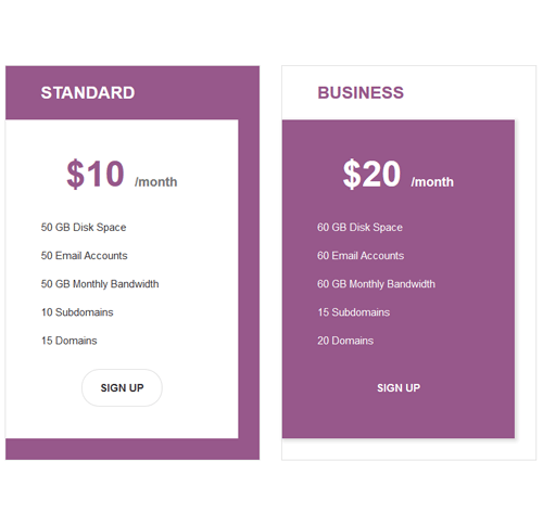 Pricing Table — стиль 63