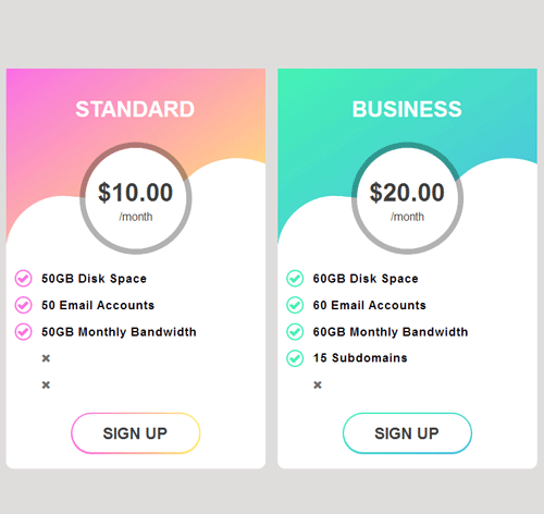 Pricing Table — стиль 81