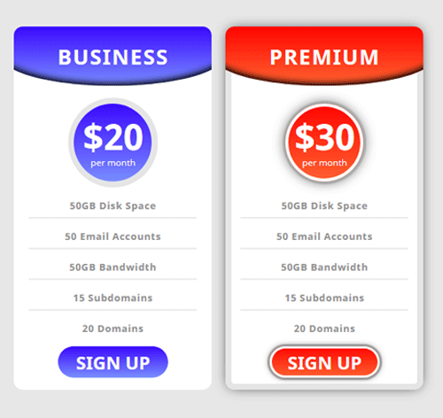 Pricing Table — стиль 99