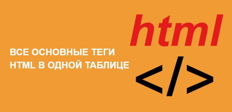 Основные теги HTML в одной таблице