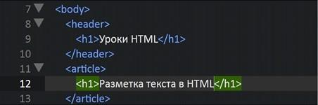 Разметка текста в HTML