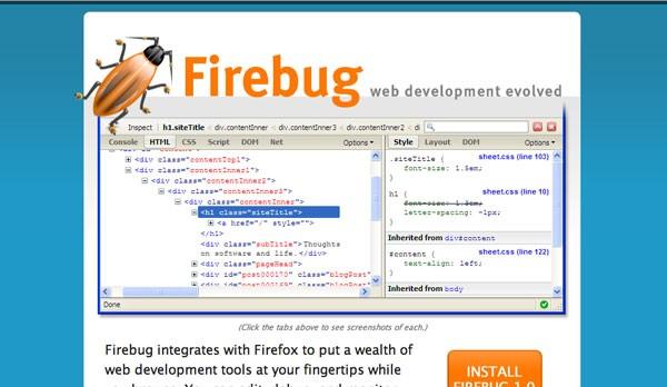 Инструмент для HTML верстки firebug