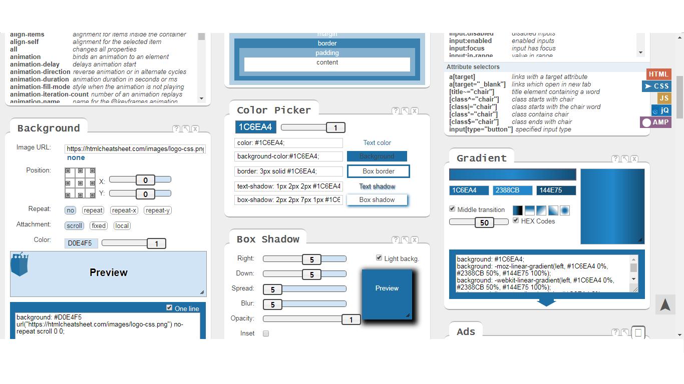 CSS генератор кода