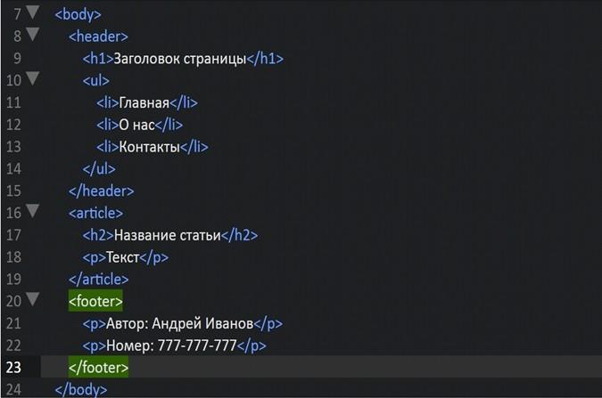 Структура HTML страницы